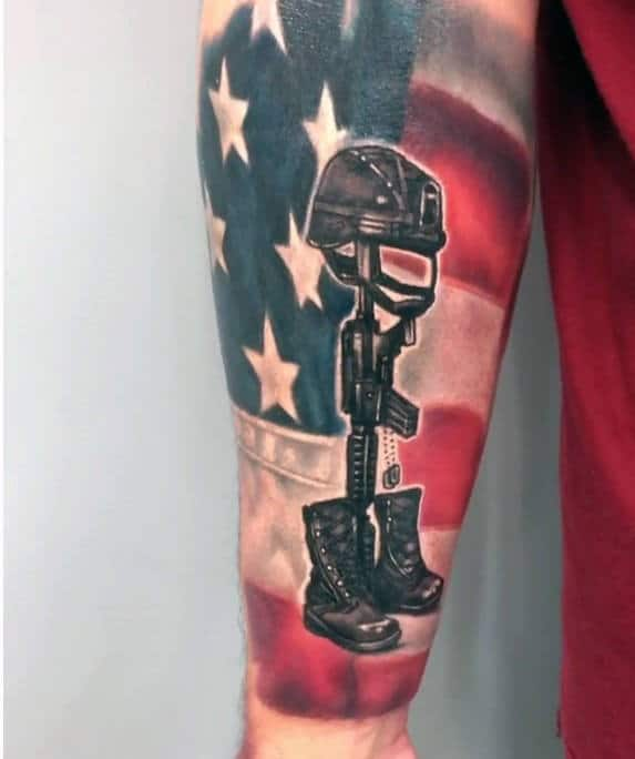 Amazing Usa Flag Fallen Soldier Cross Mens Forearm Sleeve Tattoo