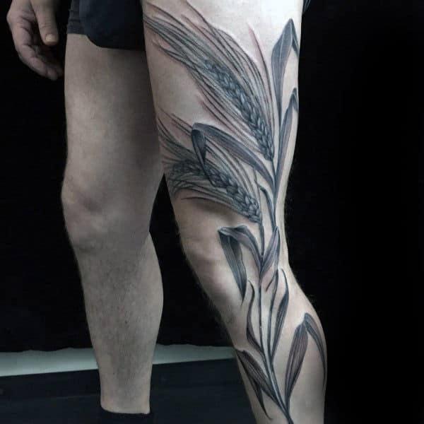 Amazing Virgo Wheat Full Leg Tattoo For Men