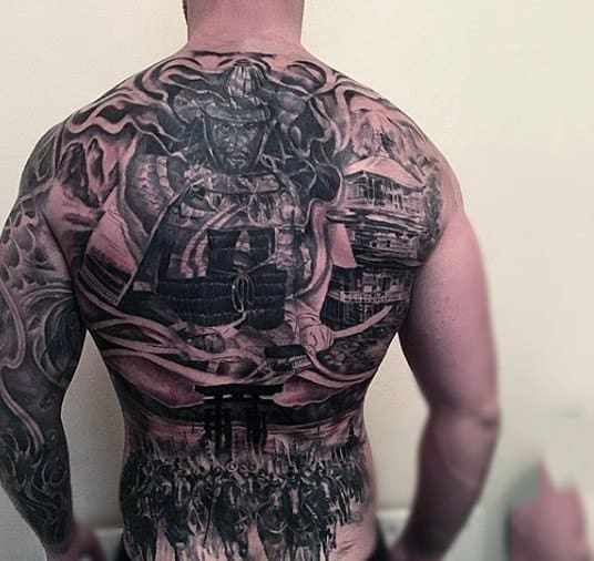 Amazing Warrior And Battle Tattoos Male Back