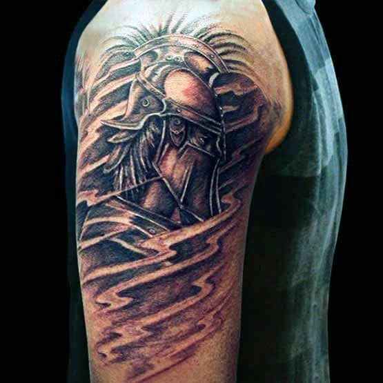 Amazing Warrior Half Sleeve Tattoos For Men