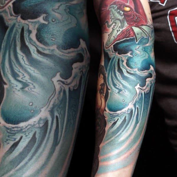 Amazing Water Dragon Mens Half Sleeve Tattoo Design Ideas