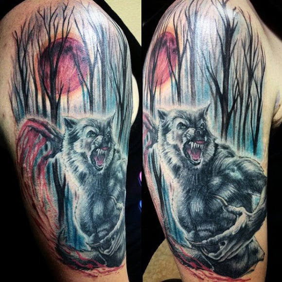 Amazing Watercolor Werewolf Tattoo Male Upper Arms