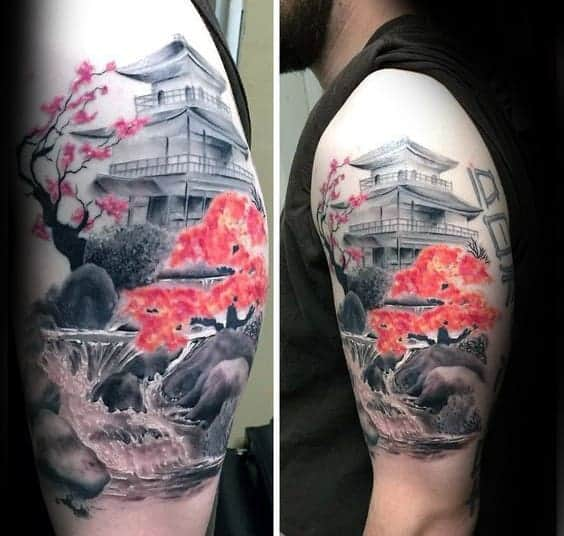 amazing-waterfall-cherry-blossom-japanese-mens-upper-arm-tattoo-with-realistic-design