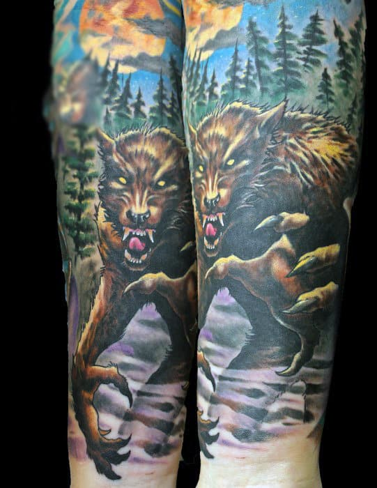 Amazing Werewolf Tattoos For Men On Forearms