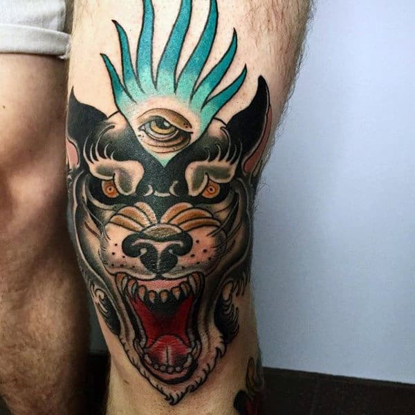 Amazing Wolf Knee Eye Tattoo On Gentleman