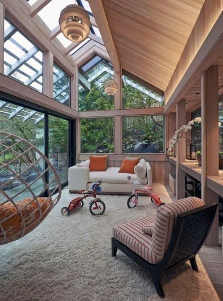 Amazing Wood And Glass Ceiling Sunroom Ideas