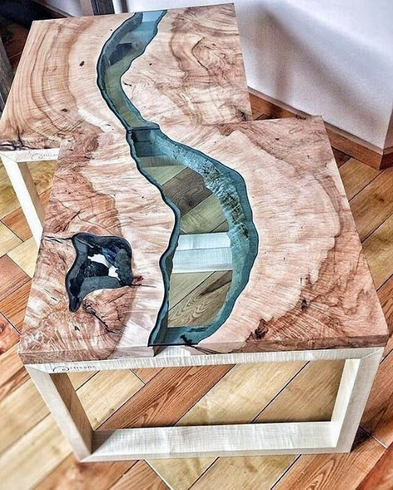 Amazing Wood Glass River Bachelor Pad Furniture Mens Side Table