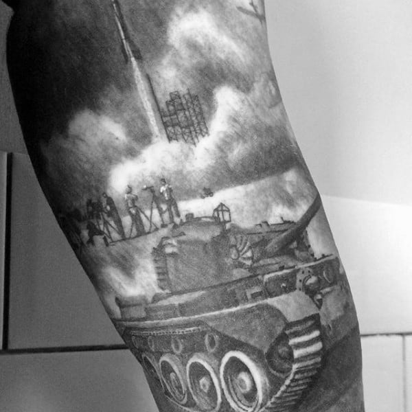 Amazing Ww2 Rocket And Tank Guys Arm Sleeve Tattoo