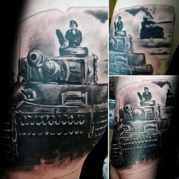 Amazing Ww2 Tank Mens Arm Tattoos