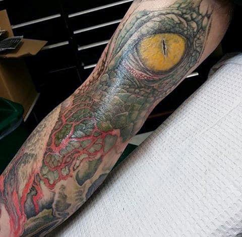 Amber Eyed Large Lizard Tattoo For Guys Full Sleeves