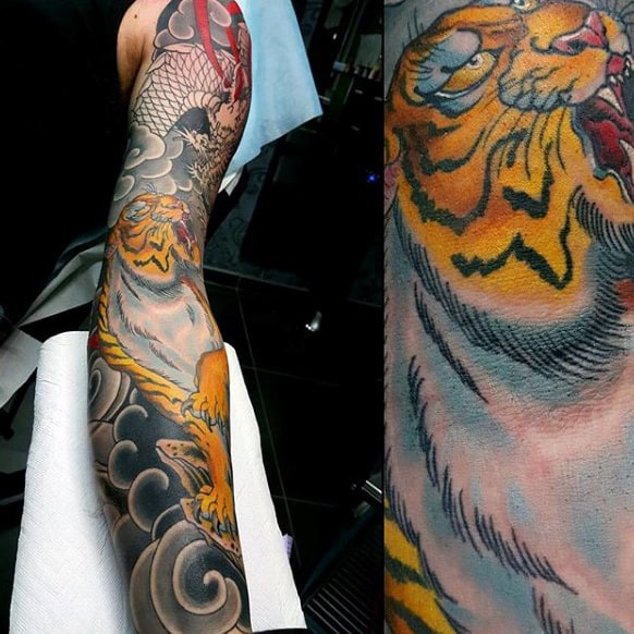 Amber Tiger Japanese Sleeve Tattoo