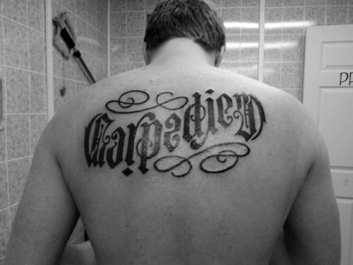 Ambigram Carpe Diem Mens Back Tattoo