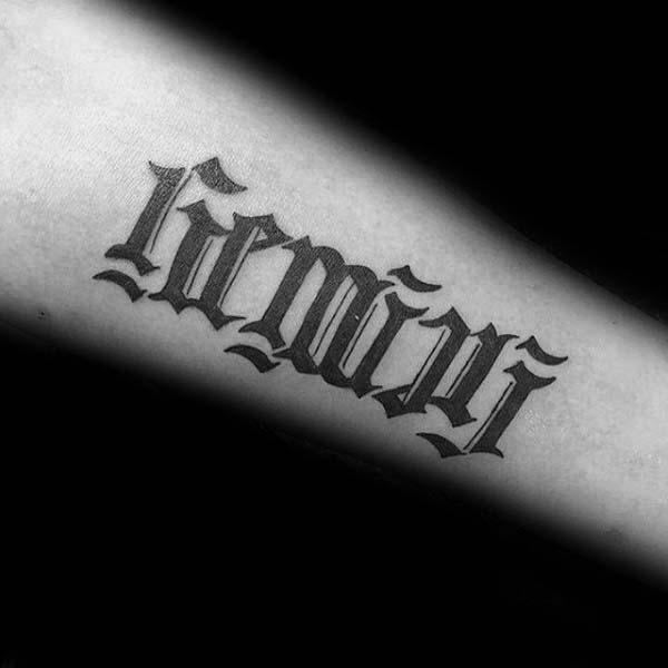 Ambigram Gemini Tattoos For Men On Forearms