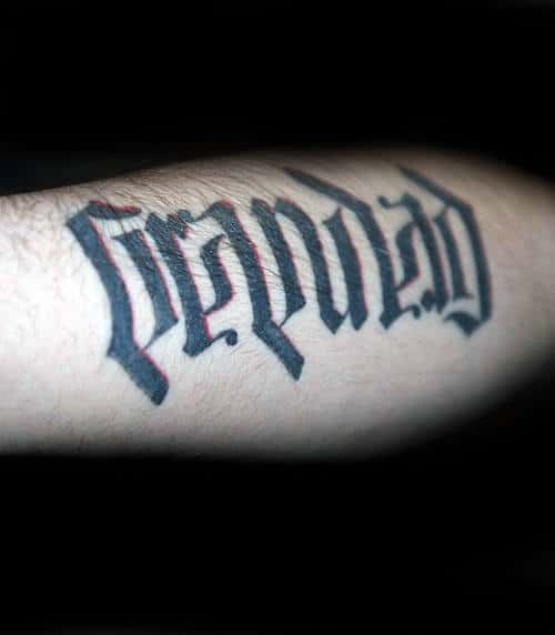 Ambigram Grandpa Guys Arm Tattoos With Red And Black Ink