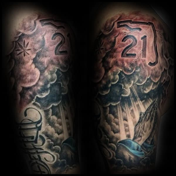 Ambigram Life Death Mens Half Sleeve Tattoos