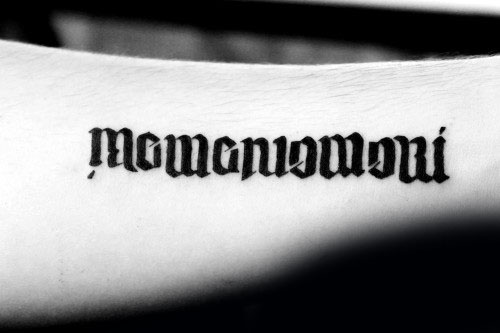 Ambigram Memento Mori Mens Outer Forearm Tattoo Design Inspiration