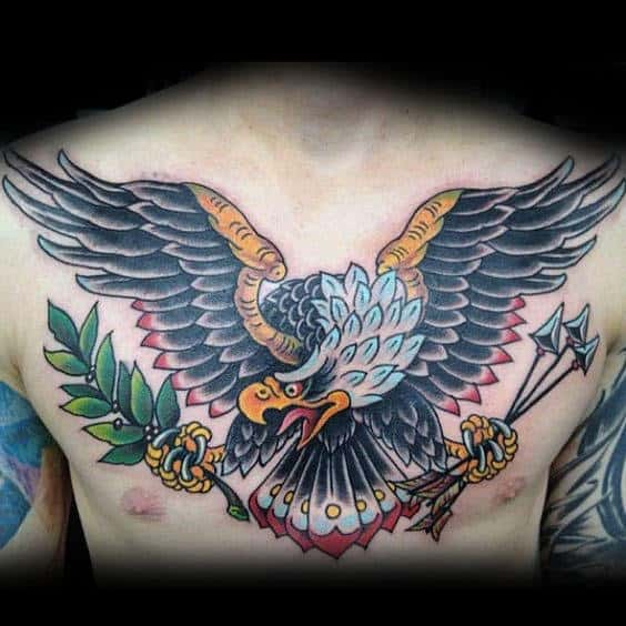 American Bald Eagle Arrows With Olive Branch Chest Tattoos For Men