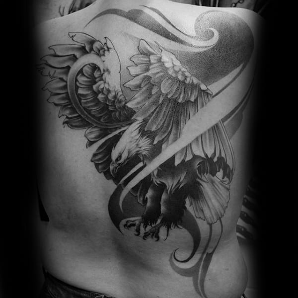 American Eagle Hawk Wrapped In Pattern Back Tattoo On Male