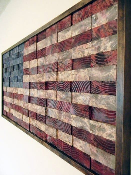 American Flag 2x4 Wood Board Bachelor Pad Wall Art