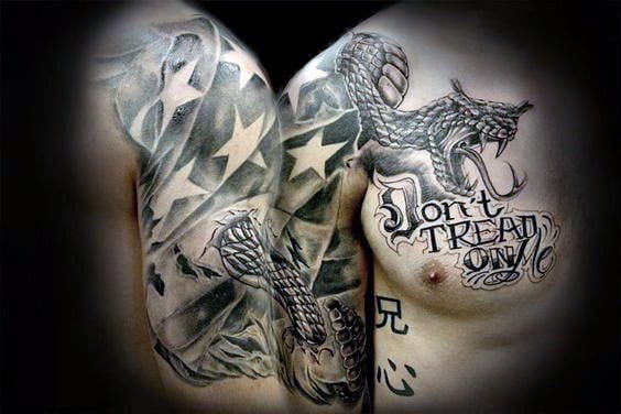 American Flag And Snake Wthi Dont Tread On Me Text For Guys Chest