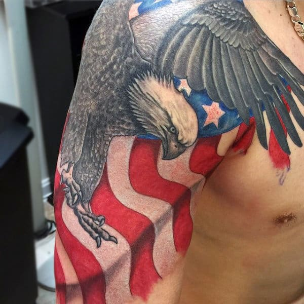 American Flag Bald Eagle Tattoo Male Shoulders