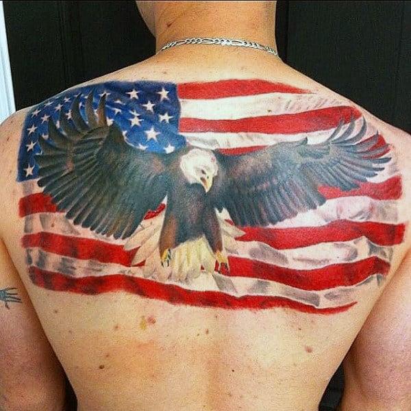 American Flag Eagle Mens Upper Back Patriotic Tattoos