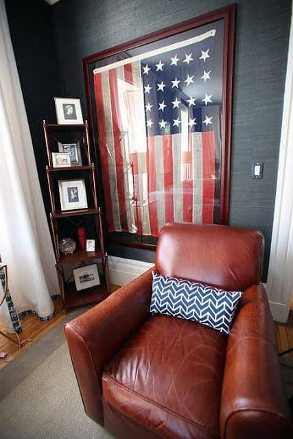 American Flag Framed Bachelor Pad Wall Art For Males