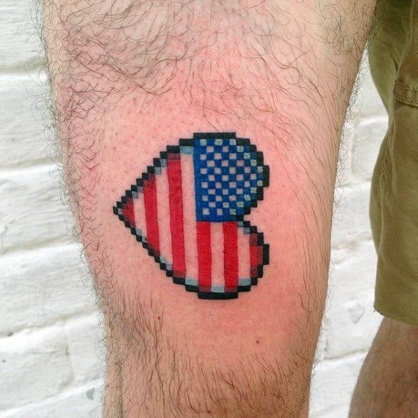 American Flag Heart 8 Bit Male Thigh Tattoos
