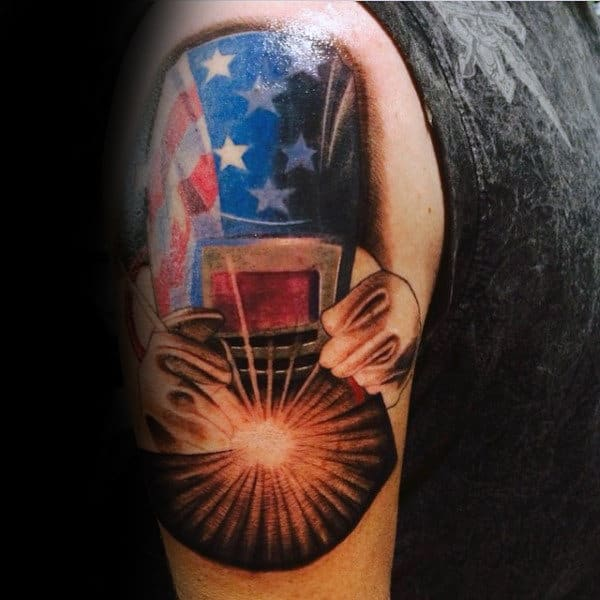 American Flag Helmet Welding Tattoos On Mans Upper Arm