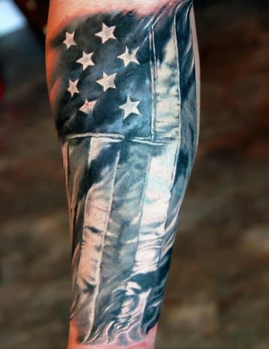 American Flag Inner Forearm Mens Tattoos
