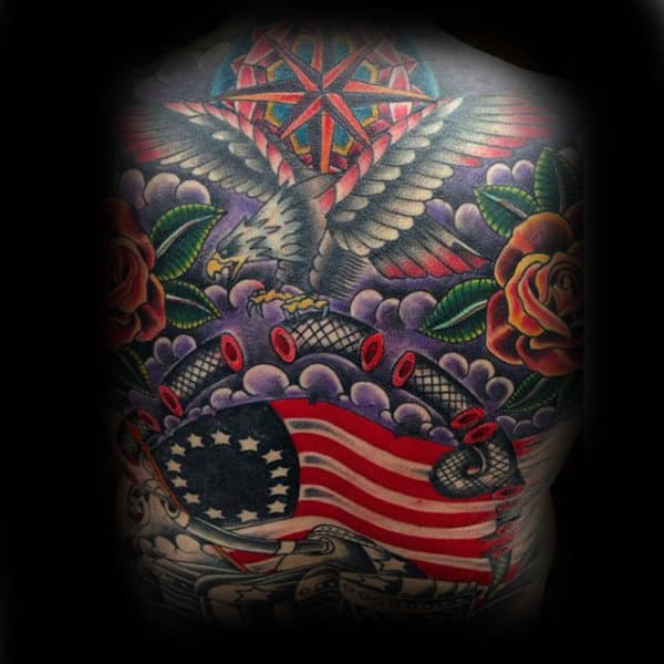 American Flag Join Or Die Eagle Mens Full Back Traditional Tattoos