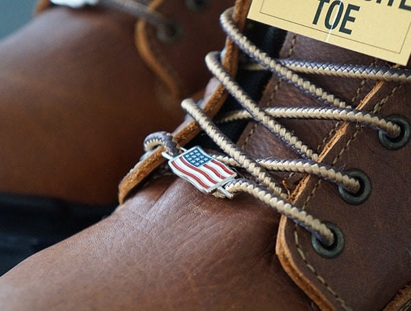 American Flag Lace Pin Detail Carhartt Made In The Usa 8 Inch Composite Toe Work Boot For Men