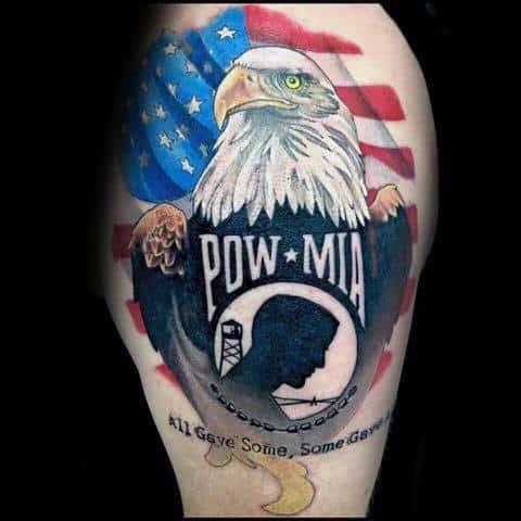 American Flag Mens Pow Mia Tattoo Design Ideas