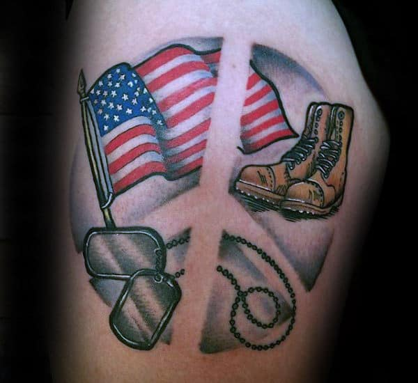 American Flag Military Themed Male Peace Sign Tattoos On Tigh