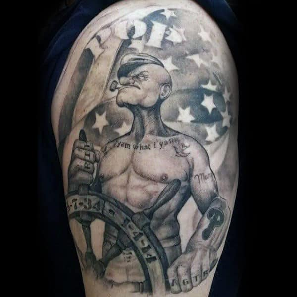 American Flag Popeye Upper Arm Guys Tattoos