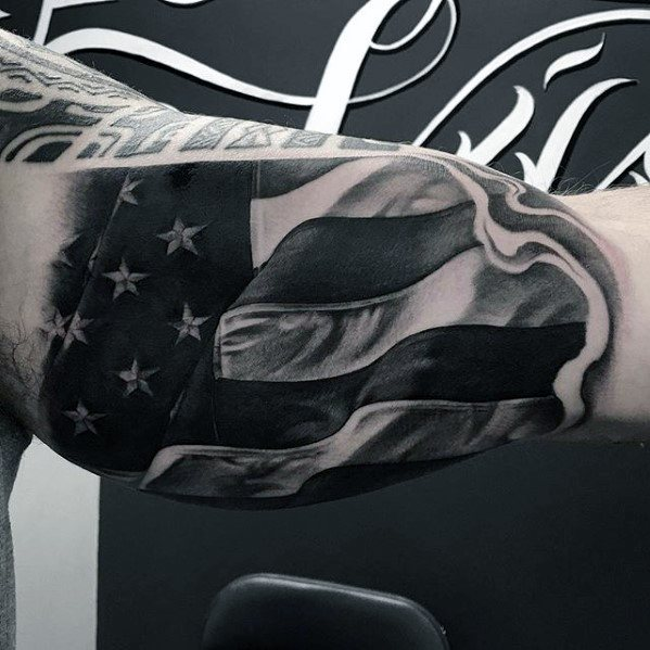 American Flag Realistic Unique Arm Quarter Sleeve Tattoo For Guys
