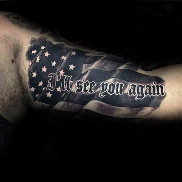 American Flag See You Again Lettering Guys Memorial Inner Arm Tattoo Design Ideas