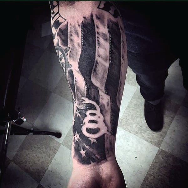 American Flag Snake Forearm Sleeves Guys Tattoos