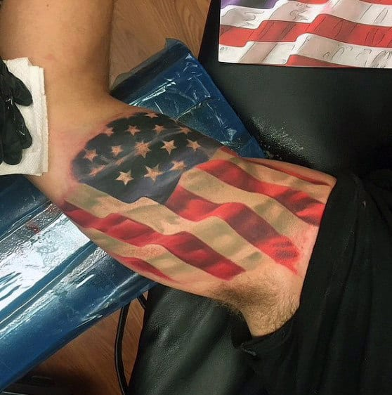 American Flag Tattoo Ideas For Men On Bicep