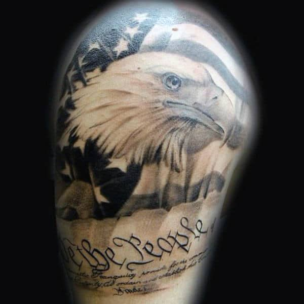 American Flag Upon Eagle We The People Mens Half Sleeve Tattoo