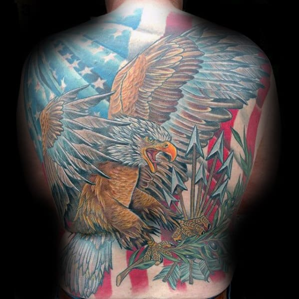 American Flag With Eagle Mens Back Tattoos