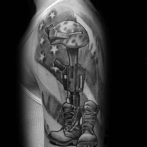 American Flag With Fallen Soldiers Cross Half Sleeve Tattoo For Men