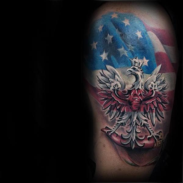 American Flag With Polish Eagle Mens Arm Tattoo