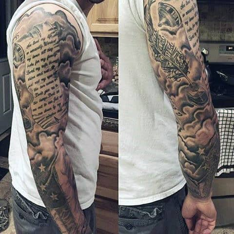 American Flag With Shaded Clouds Guys Scroll Full Sleeve Tattoos