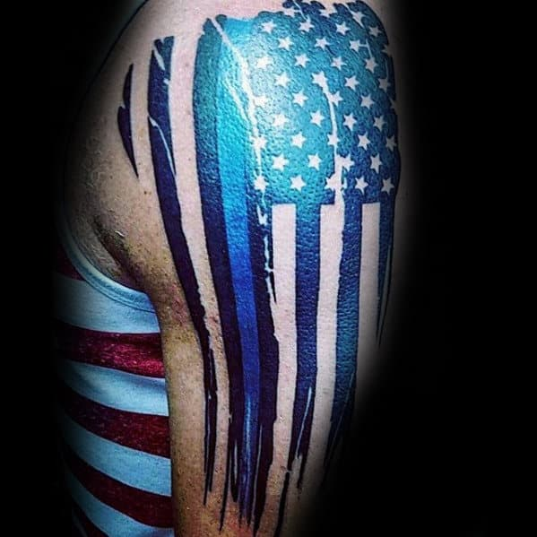 American Flag With Thin Blue Line Guys Manly Arm Tattoos