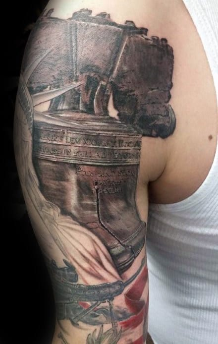 American Independence Liberty Bell Male Arm Tattos