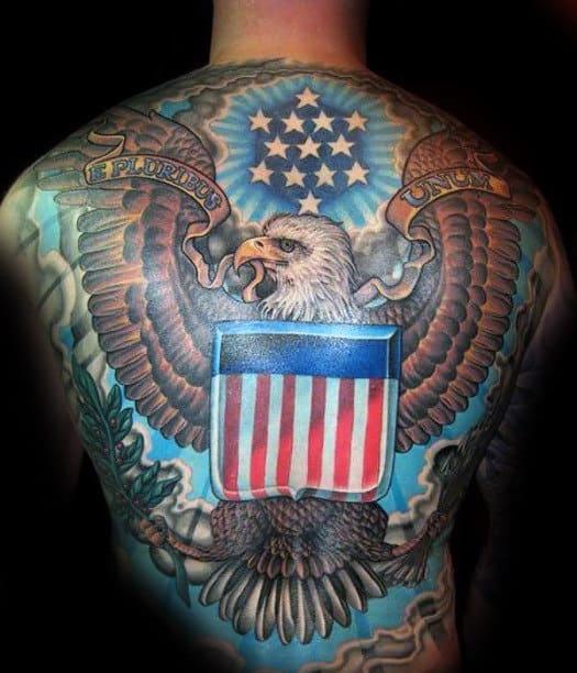 American Patriotic Bald Eagle Full Back Tattoos For Men