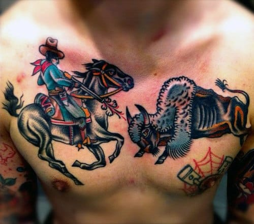 American Traditional Vibrant Chest Piece Tattoo Man Shooting Bull