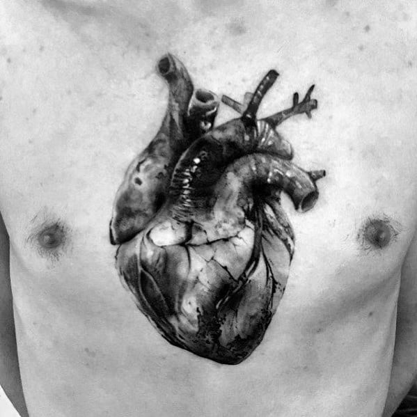Anatomical Chest Mens Tattoos 3d Heart