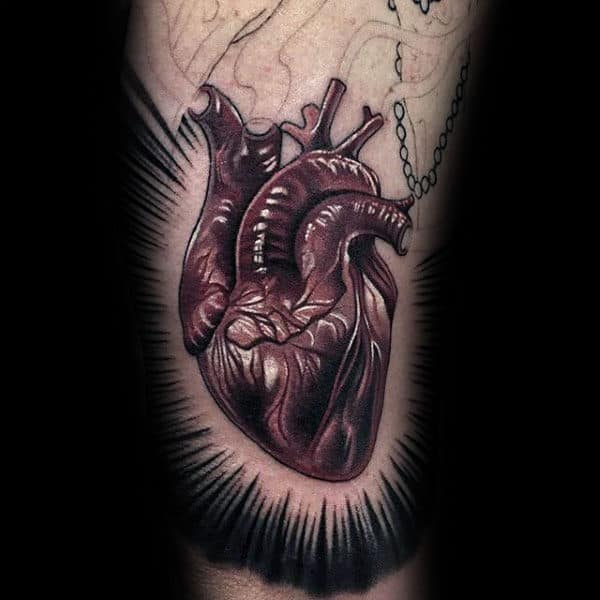 Anatomical Glowing Sacred Heart Mens Red Ink Arm Tattoos